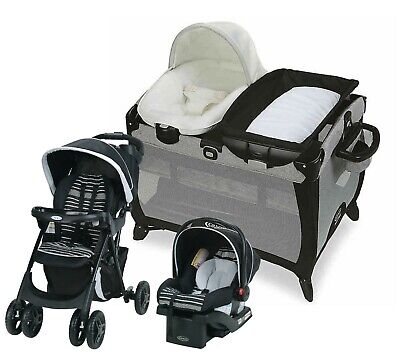 Graco Baby Stroller Travel System With Car Seat Playard Crib Bassinet Combo New • 310.42£
