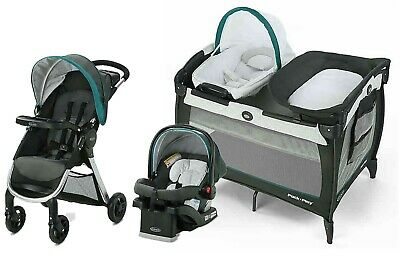 Graco Baby Stroller With Car Seat Travel System Combo Playard Crib Diaper Bag • 303.18£