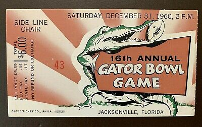 $100 • Buy Arkansas Razorbacks 1960 Gator Bowl College Football ORIGINAL Ticket Vs Ga.Tech