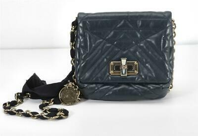 LANVIN Mini Pop Happy Bag Quilted Navy Leather Crossbody Chain Shoulder Handbag • 282.53£