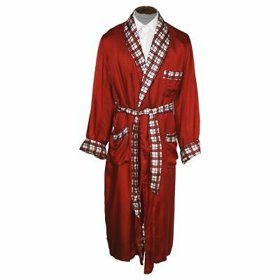 $148.50 • Buy Vintage 1950s Mens Dressing Gown Red W Plaid Tulipe Smoking Lounging Robe L XL