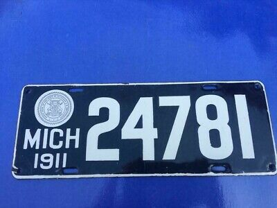 $ CDN746.72 • Buy 1911 Michigan Very High Quality Porcelain 2nd Issued  Passenger License Plate
