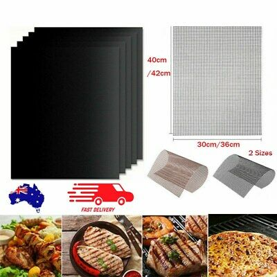 AU12.99 • Buy BBQ Grill Mat Reusable Bake Sheet Resistant Teflon Meat Barbecue Non-Stick Mesh