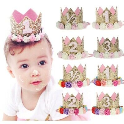 First Birthday Party Hat For Baby Girl Flower Princess Crown Decor Baby Hats Cap • 2.99£