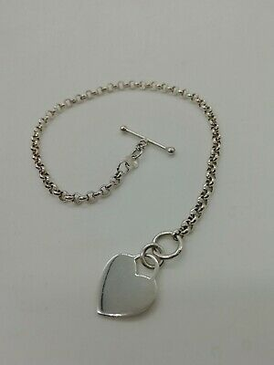 Silver Heart Tag Bracelet With T-bar • 15£