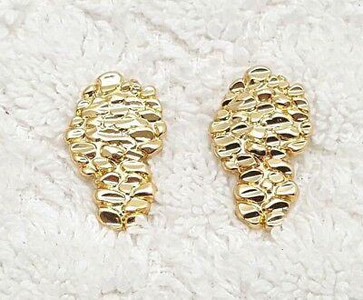 $7.99 • Buy 14kt Gold Plated Nugget Earrings 16mm.