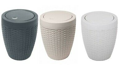 Addis Faux Rattan Effect Bathroom Waste Bin 5L Storage Basket With Flip Lid • 14.99£