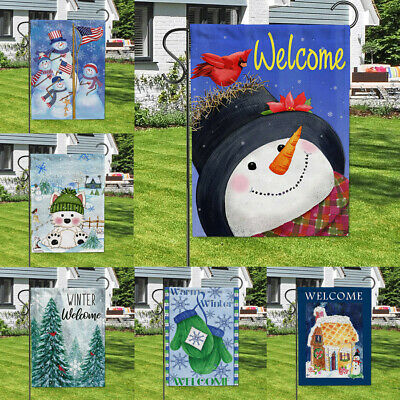 $3.98 • Buy Happy Winter Signs Banner/Flag Outdoor Double Sided Courtyard Garden Flags