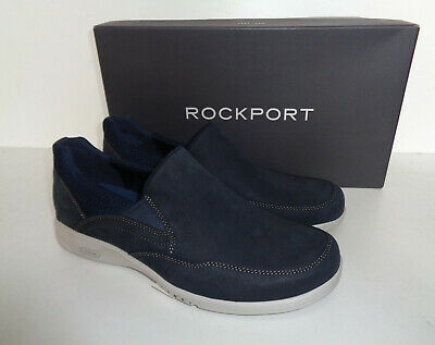 Rockport Gore Mens Navy Memory Foam Leather Slip On Shoes RRP £100 New UK Size 8 • 35.98£