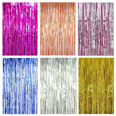 2M-3M Foil Fringe Tinsel Shimmer Curtain Door Wedding Birthday Party DECORATIONS • 2.75£