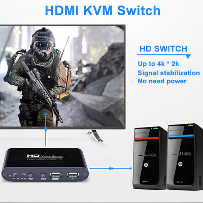 AU64.94 • Buy TOMLOV HDMI KVM Switch Box 4K USB 3D 2 Port Monitor Switcher Selector For Mouse