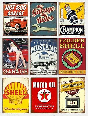 Metal Wall Signs Plaques Home Bar Mancave Vintage Retro Style Garage Automobilia • 4.99£