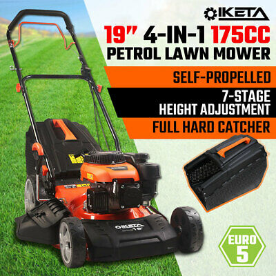 AU385 • Buy 19'' Lawn Mower 175cc Petrol Self-Propelled Push Lawnmower 4-IN-1 Grass Catcher