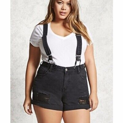 $14.99 • Buy F21 Black Distressed Denim Jean Shorts With Suspenders (Plus Size 16)