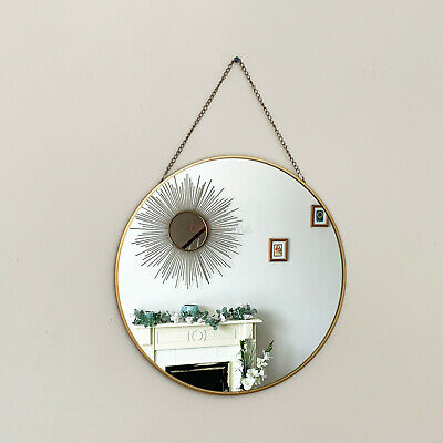 Vintage Round Chain Hanging Gold Frame Bathroom Shaving Glass Wall Decor Mirror  • 14.99£