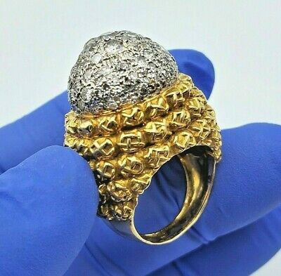 $2700 • Buy Antique 1.50ct Diamonds Ring 18k Solid Yellow Gold Size 6 / 20.9 Grams Hand Made