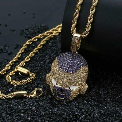 £14.99 • Buy Frieza Cz Pendant Chain Necklace Iced Out Bling Jewellery Dragon Ball Z Goku