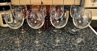 $49 • Buy Williams-Sonoma Set/8 Clear Wine Glasses With Etched Grapes