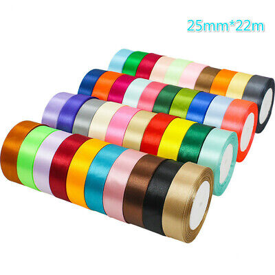 22m Double Sided Satin Ribbon For Party Gift Wrapping10mm 20mm 25mm 40mm Widths • 3.50£