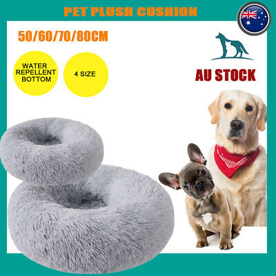 AU32.81 • Buy Dog Pet Cat Calming Bed Beds Large Mat Comfy Puppy Fluffy Donut Cushion Plush