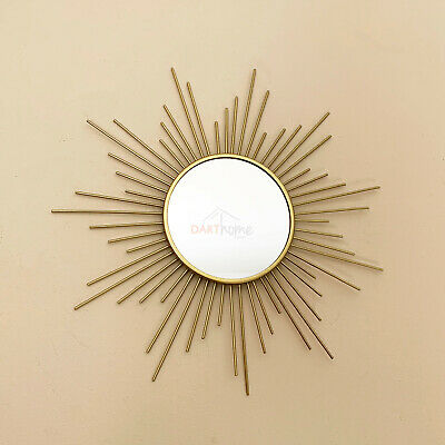 Vintage Gold Metal Frame Sunburst Home Decorative Round Glass Wall Mirror Small • 8.99£
