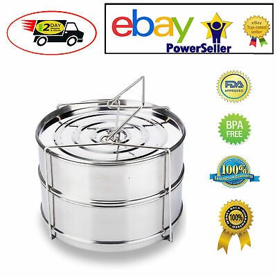 $29.85 • Buy Stackable Insert Pan Stainless Cooking Accessories 6-8 Quart Fits Instant Pot