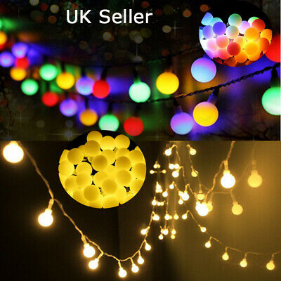 50LED 5m Solar Powered Fairy String Ball Lights Garden Outdoor Party 8 Modes • 12.27£