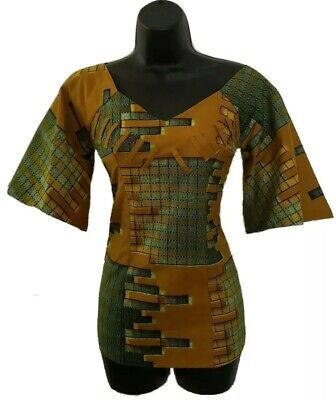 $28 • Buy African Women Orange And Green Blouse