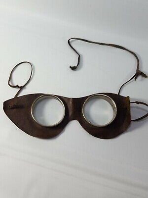 $75 • Buy Vintage Steampunk Auto Glasses Goggles Antique Motorcycle Aviator Leather Round