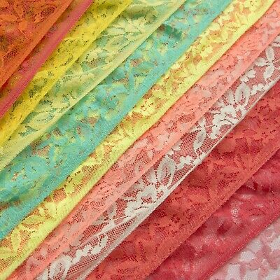 £3.99 • Buy Rose Floral Lace Fabric 60  Stretchy Dress Material Flo Colours Nylon Spandex