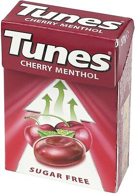 Tunes CherryMenthol Sugar Free Cough Throat Sweets 37g 1 Pack Or BOX Of 24 Packs • 1.80£