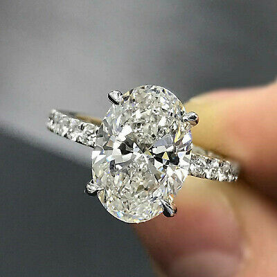 $208.99 • Buy 3.53 Ct Oval Cut Solitaire Diamond Engagement Ring Real Solid 14K White Gold