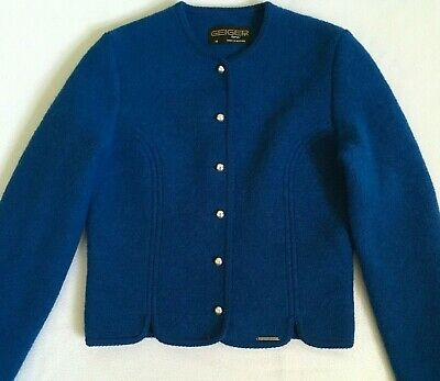 $34 • Buy Geiger Womens Blue Boiled Wool Cropped Jacket Austria Tyrol Size 38