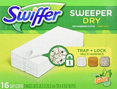 Swiffer Sweeper Dry Sweeping Pad Refills For Dusters Floor Mop, Gain, 16 Count • 5.36£
