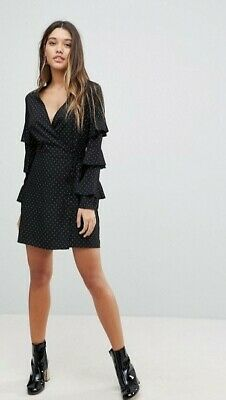 Fashion Union Wrap Dress In Polka Dot With Ruffle Sleeves Size 10/M • 5£