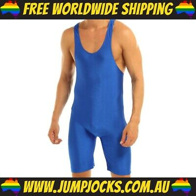 Blue Lycra Bodysuit - Fetish, Wrestling, Gay *FREE WORLDWIDE SHIPPING* • 16.36£