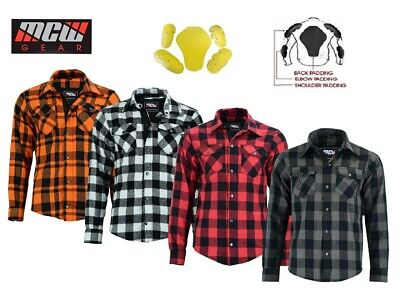 Men Motorcycle Motorbike Lumberjack Mesh Lined Boys Shirt Protective CE Armoured • 36.99£