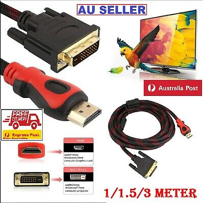AU7.99 • Buy HDMI To DVI Cable Male DVI-D For LCD Monitor Converter Adapter Cable Projectors