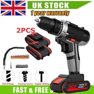 View Details CORDLESS COMBI HAMMER IMPACT DRILL DRIVER ELECTRIC SCREWDRIVER & 2 BATTERIES 36V • 59.89£