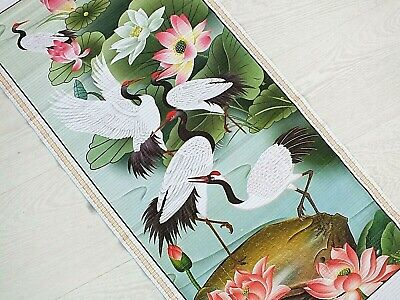 Chinese Bamboo Cane Feng Shui Wall Hanging Scroll Picture Crane Bird Lotus 9-6 • 8.29£