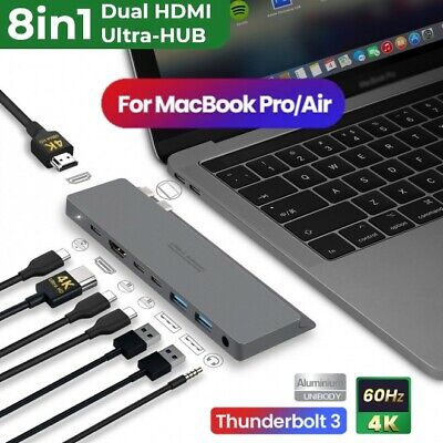 AU139.95 • Buy 8 In 1 Type C Hub Adapter Dual USB Thunderbolt 3 5K Dual-HDMI Dock MacBook Pro
