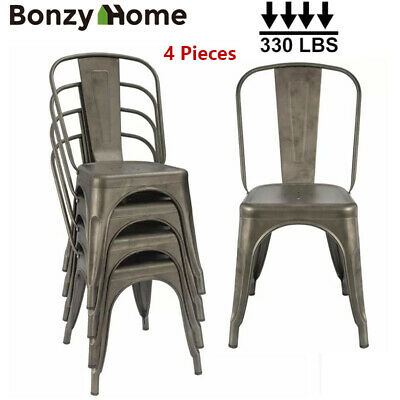 $105.99 • Buy Gun Metal Dining Side Chairs Set Stackable Patio Garden Outdoor Chairs Set Of 4