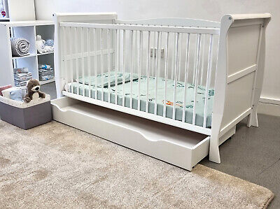 £189.99 • Buy White Sleigh Cot Bed With Sprung Or Foam Mattress And Optional Drawer
