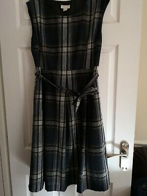 Monsoon Tartan Wool Dress Fit And Flare With Belt Beige Brown UK 12 • 29.99£