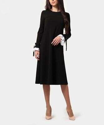 $53.46 • Buy MSRP $186 Lada Lucci Black & Milky Ruffle Bow-Contrast A-Line Dress Size 14W