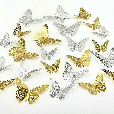 £2.80 • Buy 12pcs 3D Butterfly Wall Stickers Art Decals Home All Room Decorations Decor Kid