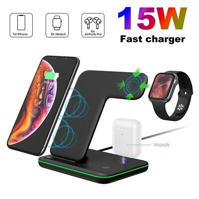 AU38.89 • Buy 15W Qi Wireless Charger Dock Stand 3in1 For Apple Watch 5/4/3/2/1 IPhone 11 XS 8