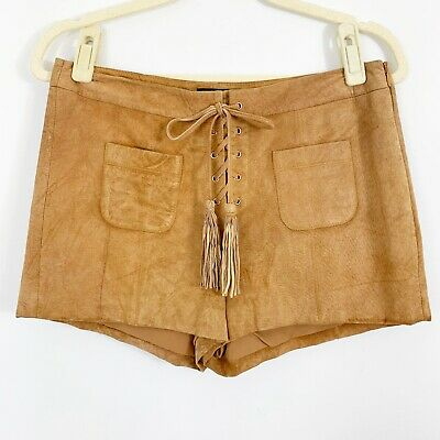 $32.49 • Buy Intermix Leather Shorts Size Small Tassel Front Tie Detail Tan Brown Boho Lined