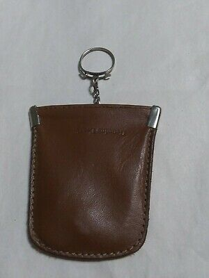 $10.50 • Buy Vintage Tan Leather Coin/Change Squeeze Purse Keychain