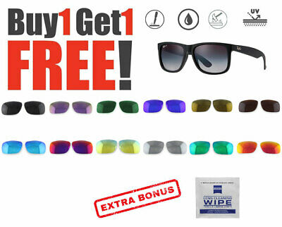 AU16.99 • Buy 2 X Polarized Replacement Lenses For Ray-Ban New Justin 4165 Sunglasses 54mm